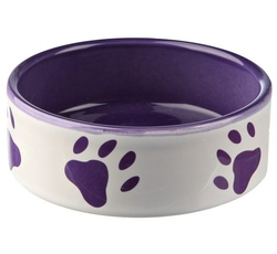 Misky, zásobníky - Miska keramická pes s fial.tlapkami Bílá