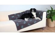 Deka pro psy BEANY šedá a modré kostičky 100x70cm