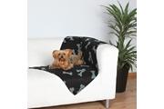 Deka pro psy BEANY černá a šedé kosti 100x70cm